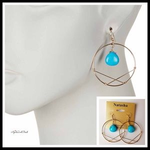 TURQUOISE STONE SEMI PRECIOUS HOOP GEO EARRINGS